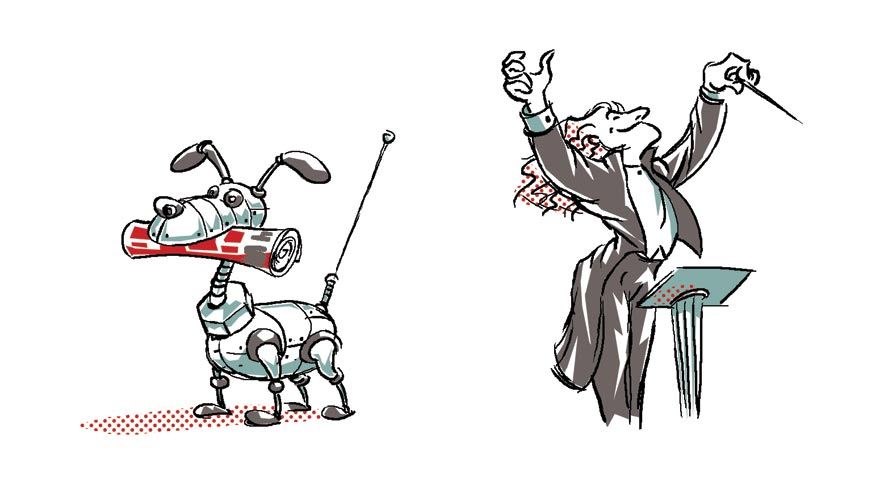 Black line and flat colour illustration of a mechanical dog and orchestra conductor
