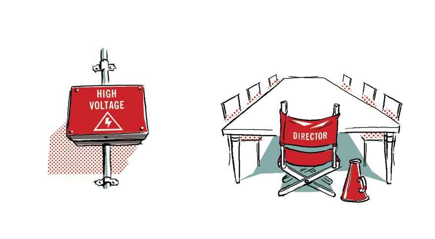 Black line and flat colour illustrations of a fuse box and a meeting table