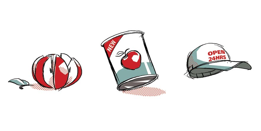 Black line and flat colour illustrations of a sliced Apple, tinned fruit and baseball cap