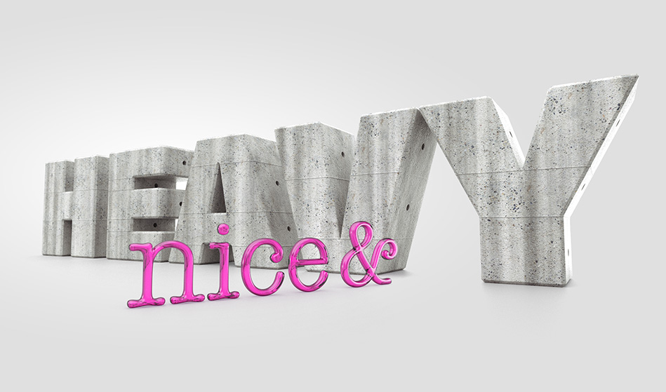 3D rendering of concrete and glass letters