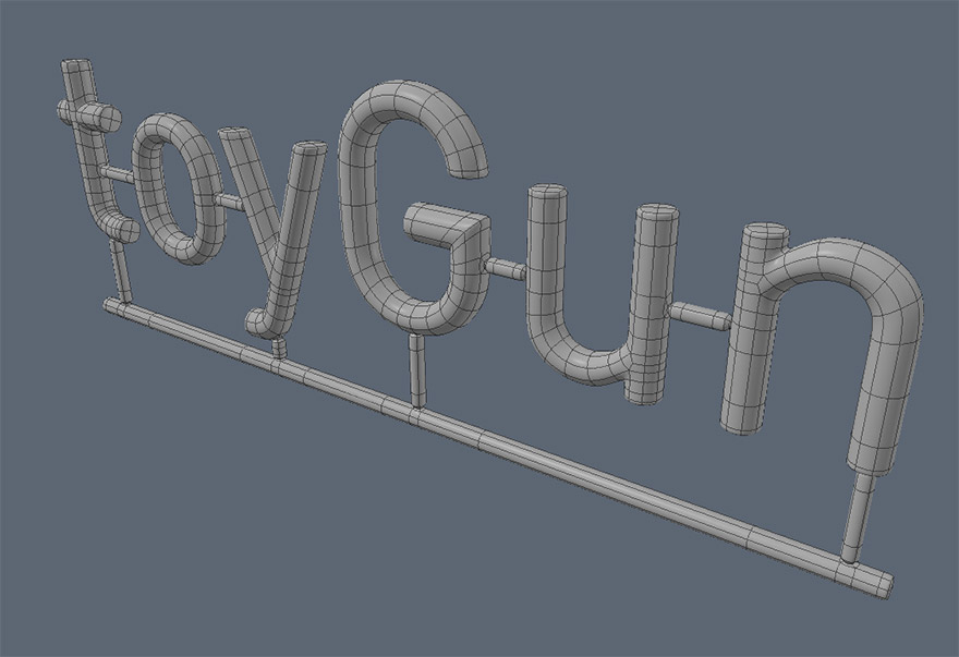 Screen shot of Toy Gun lettering wireframe model