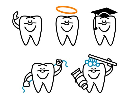 Line drawings of a tooth character