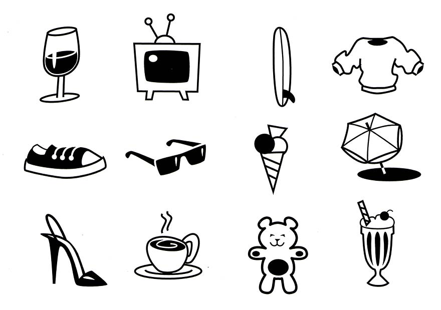 Line drawings of feelgood icons