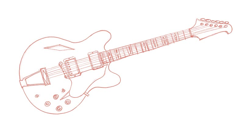 Pencil drawing of a guitar