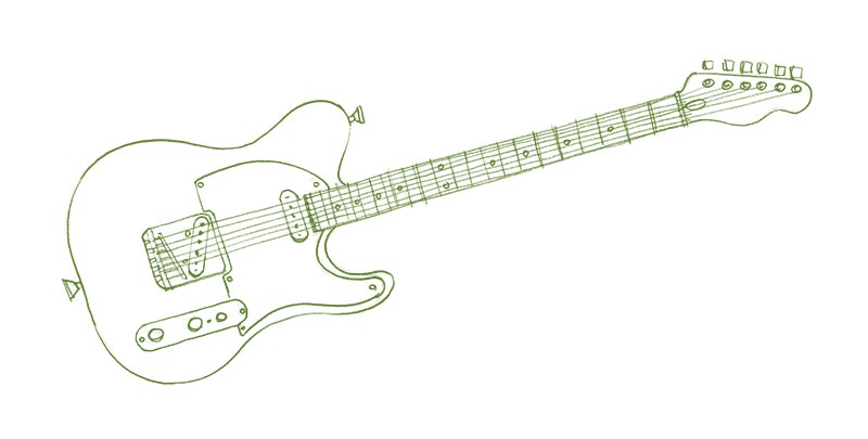Pencils drawing of a guitar